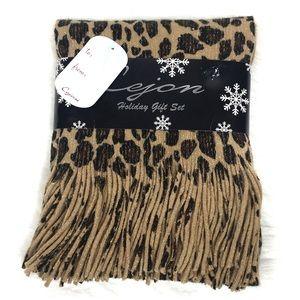 Cejon Leopard Metallic Animal Print Fringe Scarf